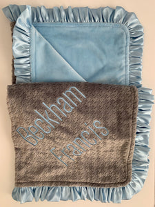 Gray Hounds tooth with Baby Blue Ruffle Gift Set