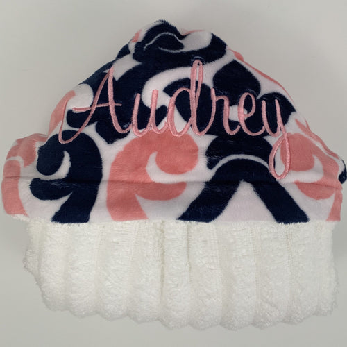 Coral, Navy & White Art Deco Hooded Towel