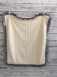 Flat Ivory with Ivory Swirly & Gray Ruffle Blanket