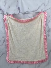 Load image into Gallery viewer, Ivory Paisley Baby Pink Ruffle Blanket