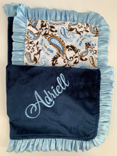 Load image into Gallery viewer, Blue/Brown Paisley with Ruffle Gift Set