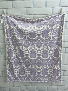 Lavender Damask with Cream Swirly Back Blanket No Ruffle