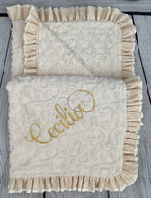 Load image into Gallery viewer, Ivory Vine with Ivory Swirly Back Ivory Satin & Cream Lace Ruffle Blanket