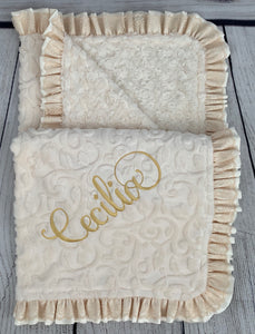 Ivory Vine with Ivory Swirly Back Ivory Satin & Cream Lace Ruffle Blanket