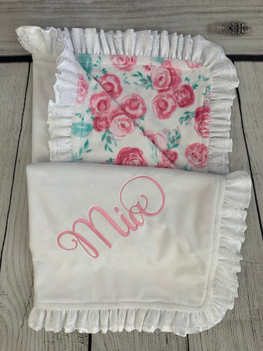 Pink Roses with Flat White Back White Satin & White Lace Ruffle Blanket