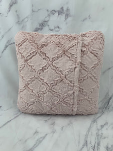 Pink Lattice with Hot Pink Embroidery & No Ruffle Pillow