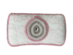 Baby Pink Lace, Ivory Lining, Pink trim with Applique Baby Wipe Case