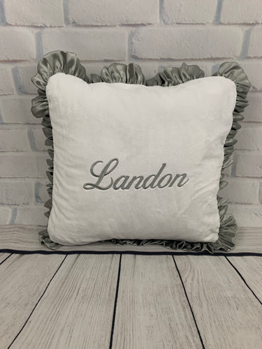 Flat White with Gray Ruffle Pillow
