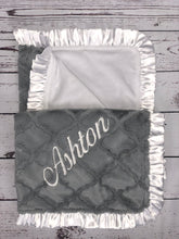 Load image into Gallery viewer, Gray Lattice with Flat White Back & White Ruffle Blanket