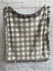 Gray Buffalo Check with Flat White Back & Gray Satin Ruffle Blanket