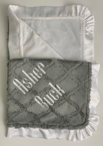 Gray Lattice Flat White Back Flat White Satin Ruffle Blanket