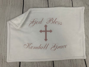 White with Dusty Rose Embroidery Baptism Towel