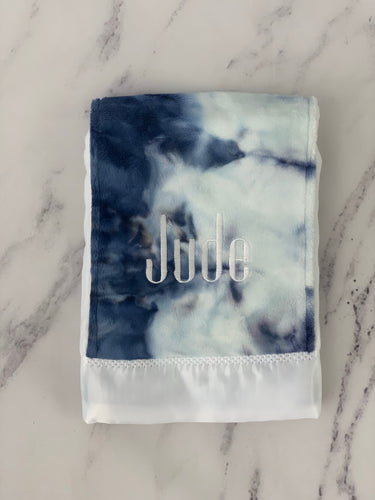 Navy Tie Dye Burp Cloth