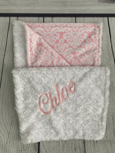 Pink/White Damask with White Swirly Back Blanket No Ruffle