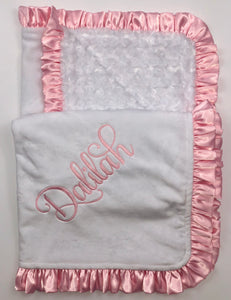 Flat White with White Swirly Back & Baby Pink Satin Ruffle Blanket