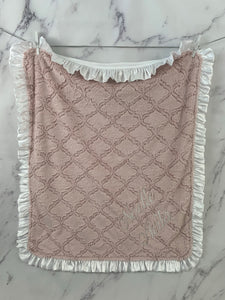 Pink Lattice with White Satin Ruffle Gift Set
