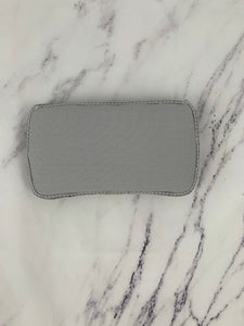 Gray Linen with Gray Trim & White  Embroidery Baby Wipe Case