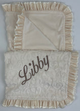 Load image into Gallery viewer, Ivory Vine with Flat Ivory Back Ivory Satin & Cream Lace Ruffle Blanket