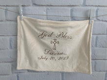 Load image into Gallery viewer, Cream with Taupe Embroidery Baptism Towel
