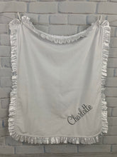 Load image into Gallery viewer, White Lattice Flat White Back White Satin Ruffle Blanket