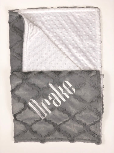 Gray Lattice with White Bubble Back Blanket No Ruffle