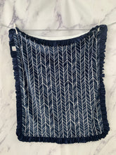 Load image into Gallery viewer, Navy, Gray & White Herringbone with Navy Ruffle Gift Set