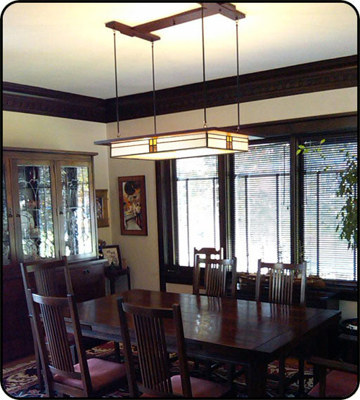 Prairie Style Light Fixture in Historic Home