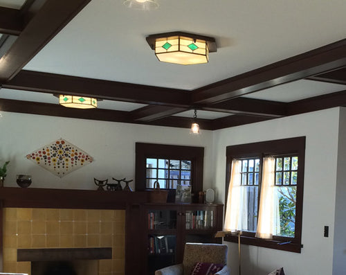 Arts and Crafts Style Living Room with Multiple Lights