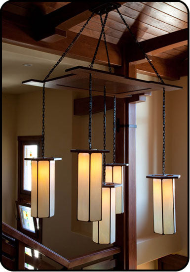 Large Craftsman Style Pendant In A Grand Foyer