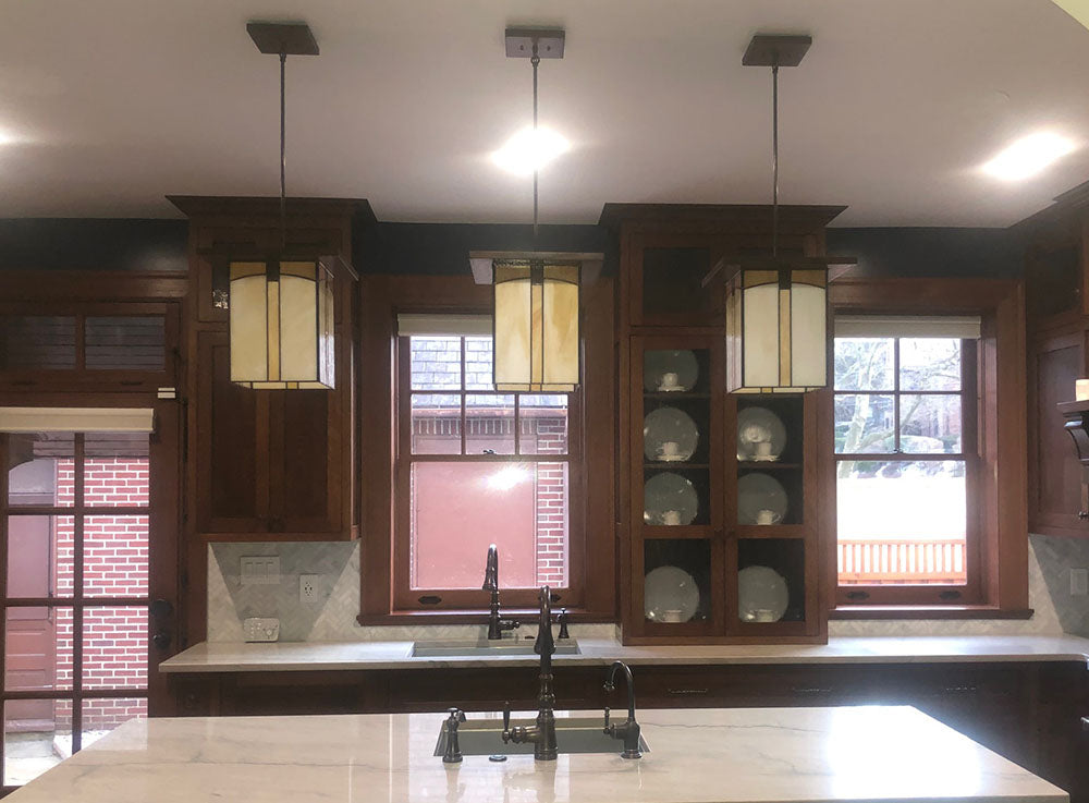 Kitchen Island Light with Three Large Mission Lanterns