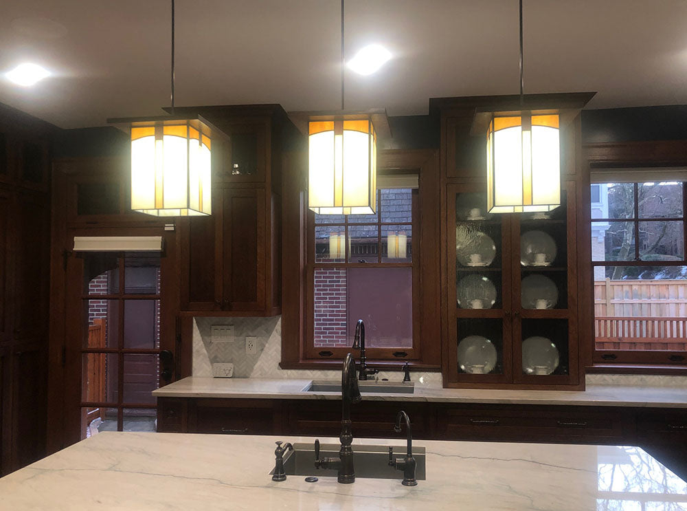3 Large Mission Lanterns in a Kitchen