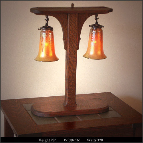 Arts & Crafts Oak Table Lamp