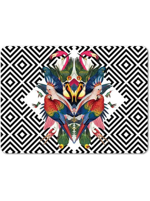 Black-white-geometric-aviary-bird-parrot-print-table-mats-placemats