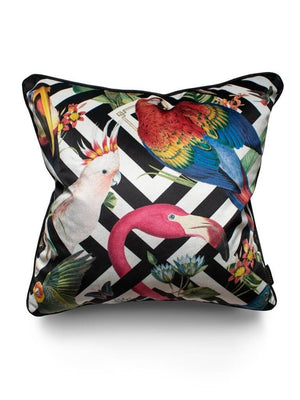 Black-white-geometric-flamingo-parrot-bird-print-velvet-cushion-divine-savages