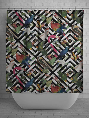 Black-white-geometric-pattern-flamingo-parrot-bird-print-shower-curtain-divine-savages