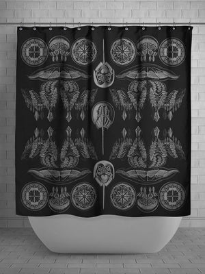 Black-white-sea-creatures-jellyfish-shower-curtain-monorchome-bathroom