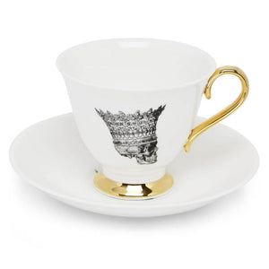 Skull Profile China Teacup and Saucer