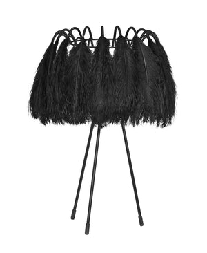 All Black Ostrich Feather Table Lamp