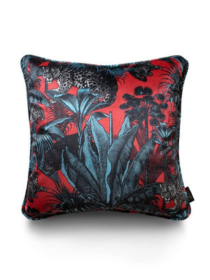 Red-teal-leopard-print-pattern-velvet-faunacation-cushion-divine-savages