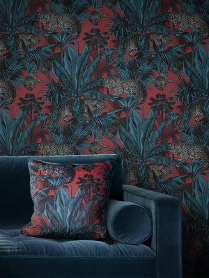 Red-teal-leopard-tropical-art-colourful-wallpaper-divine-savages-size