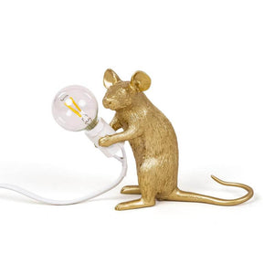 Gold Mouse Lamp - Sitting