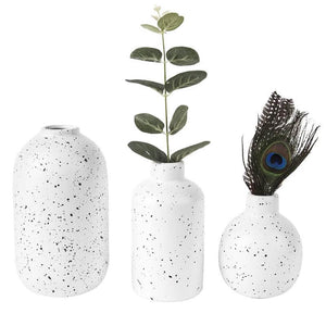 White Dotted Vase Set of 3