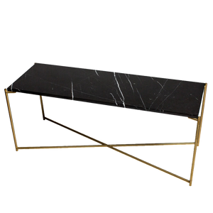 Low Console Table - Black Marble with Brass Frame