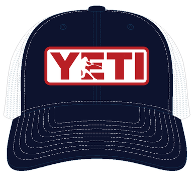 YETI Batter Trucker Hat Navy with Red Badge