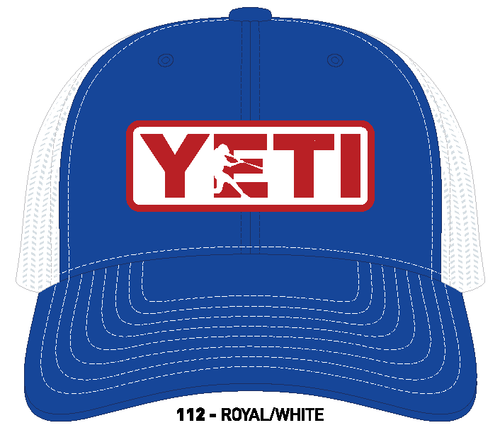 YETI Batter Trucker Hat Royal Blue with Red Badge