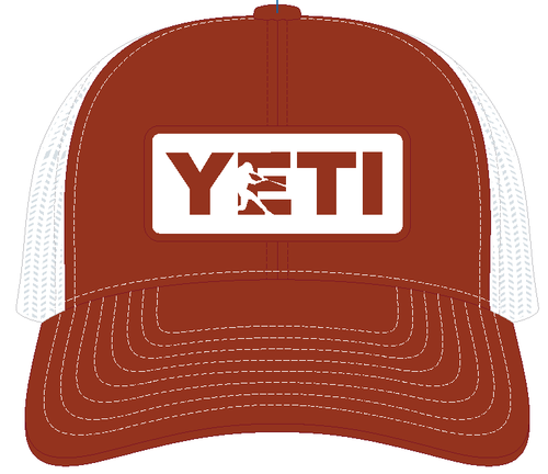 YETI Batter Trucker Hat Texas Orange with Badge