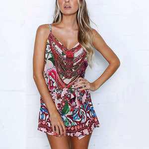 Casual Sleeveless Floral Print Rompers