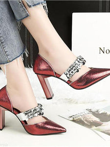 Sexy Pointed High Heels Rhinestone Sequins Female