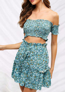 Sweet Retro Small Floral Word Collar Strapless Tube Top Suit