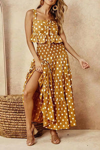 Fashion Square-Cut Collar Polka Dot Polka Dot Belted Maxi Dress Suit